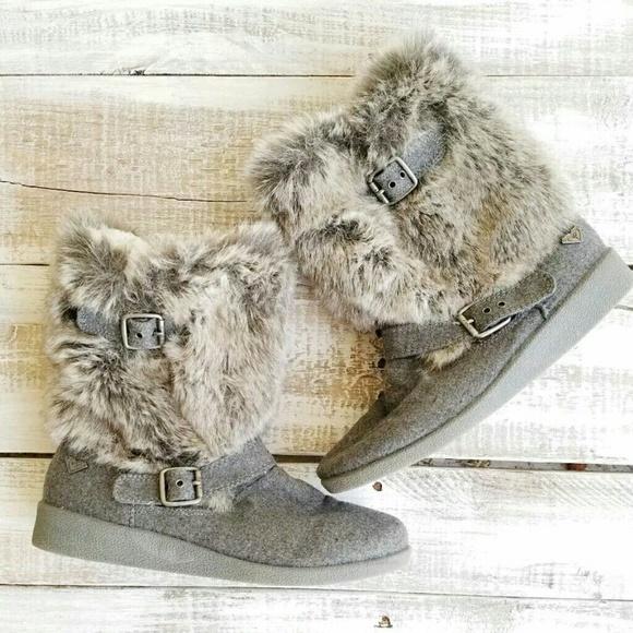 01872531f ROXY women shoes size 7,5 hemlock boots grey furry